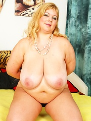 Huge chested blonde BBW sucks, fucks and swallows!