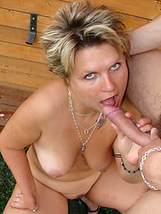Plump housewife uses the poolboy to get off!