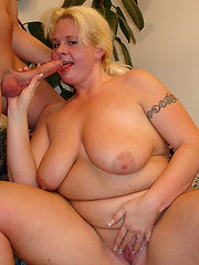 Enormous BBW engulfs cock in her cunt!