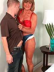 Funny aged woman coupling with stud