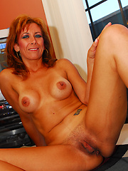Hot and horny MILF blows cock...cock blows load!