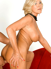 Blonde mature in sexy leggings