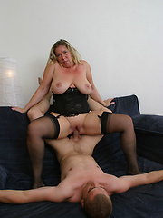 Over 50 slut with big, saggy, juggs rides dick