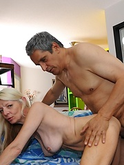 Over 60 granny Alex Storm strips out of her thong panties and gets fucked