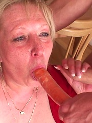 Young men fuck the hot granny with their hard dicks and she loves all the cock meat