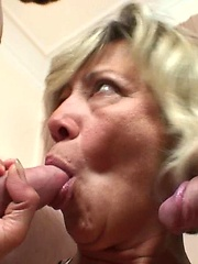After being fucked by two young men this mature slut is thrilled and wants their hot jizz