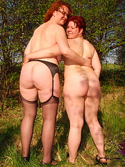 These old and young lesbians love to go outside and have fun