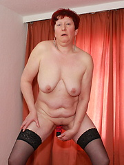 Naughty housewfe showing off her goods