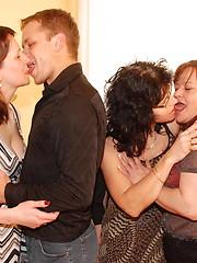 Three mature women sucking and fucking one dude