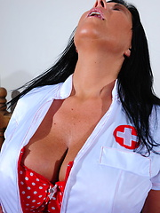 Brunette mom with huge boobs dressed in nurse clothes and black stockings