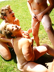 Young lesbian on two mature whores