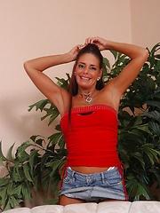 Supple mature brunette demonstrating her flexible body