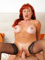 This redhead mom like to ride hard cock