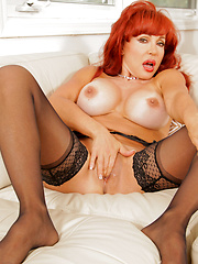 Amazing redhead aged woman showing us her sexual passion