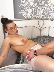 Hairy housewife doing her toy boy