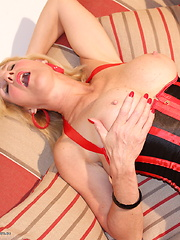 Horny British housewife masturbating and playing with her toys