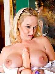White mature woman toying herself