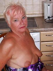 Horny blonde mature slut playing alone