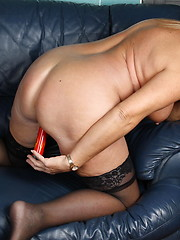 Naughty housewife grinding on the couch