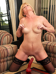 Sex craving busty milf fucks a long dildo on a mirror