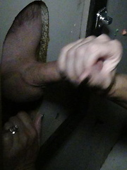 Naughty Alyshe sucks off guy after guy through a gloryhole