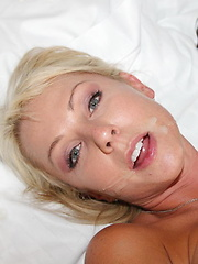 Blondie grinds her pussy on a big black cock