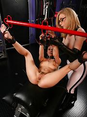 Nina Hartley plays lesbian bondage boss with Adana