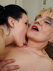 Naughty old and young lesbians playing with eachothers pussy