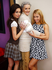 Three old and young lesbians gaving a ball
