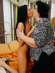 Hot babe seducing a naughty mature lesbian