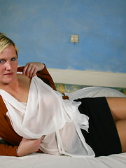 Naughty Blonde Dutch housewife playing with herself