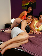 Three old and young lesbians licking and playing