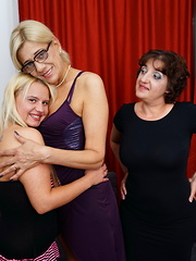 Three naughty old and young lesbians making out and then some