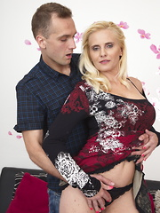 Horny blonde MILF getting done by her toy boy