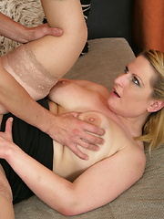 Horny housewife fucking and sucking her tits off