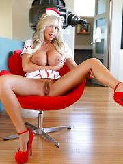 Big Titty Nurse Orally Extracts Semen Sample
