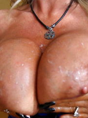 Wifey Covers Her Big Tits With Cum