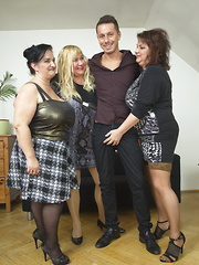 Three chubby housewives sharing one lucky dude