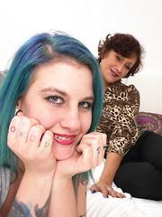 Kinky babe having fun with a mature lesbian